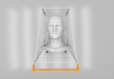 layman: The mans head in the shopping cart on a gray background