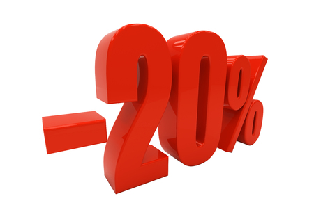 compounding: 20 percent off. Discount 20. 3D illustration Stock Photo