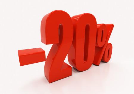 half cent: 20 percent Discount. 3D illustration