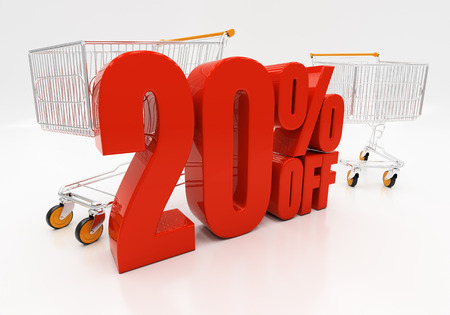 compounding: 20 percent off. 3D illustration Stock Photo