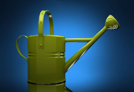 raising cans: Green garden watering can on a blue background with reflection