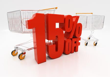 half cent: 15 percent off. Discount 15. 3D illustration