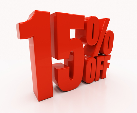 compounding: 15 percent off. 3D illustration