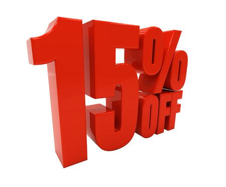 half cent: 15 percent off. 3D illustration