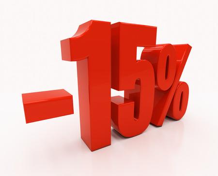half cent: 15 percent Discount. 3D illustration Stock Photo