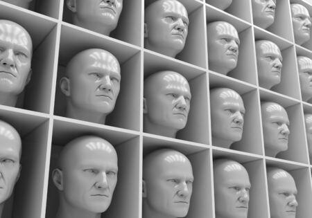 solter�a: Muchas de las cabezas de las mismas personas en cajas Foto de archivo