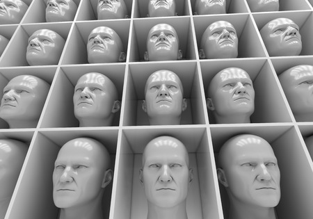 aloneness: Many of the same peoples heads in boxes