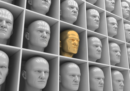 soltería: Muchas de las cabezas de las mismas personas en cajas Foto de archivo