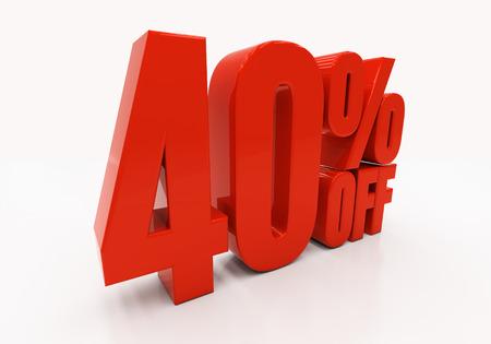 40: 40 percent off. Discount 40. 3D illustration