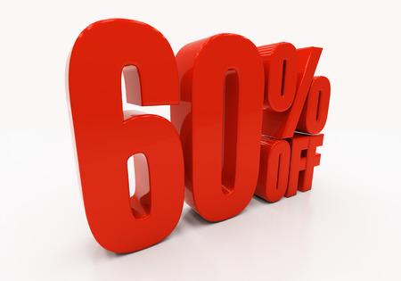 60: 60 percent off. Discount 60. 3D illustration