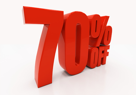 70: 70 percent off. Discount 70. 3D illustration Stock Photo