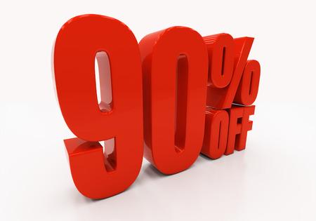 90: 90 percent off. Discount 90. 3D illustration
