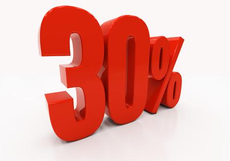 half cent: 30 percent off. Discount 30. 3D illustration
