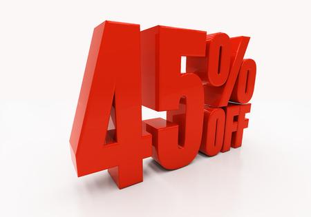 45: 45 percent off. Discount 45. 3D illustration