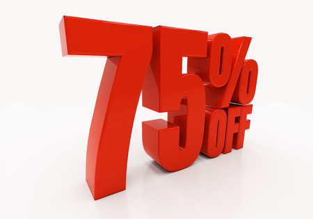 compounding: 75 percent off. Discount 75. 3D illustration Stock Photo