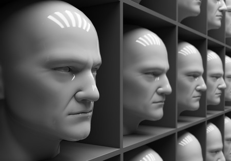 Many of the same peoples heads in boxes. Uniformity,  humanity, solitude