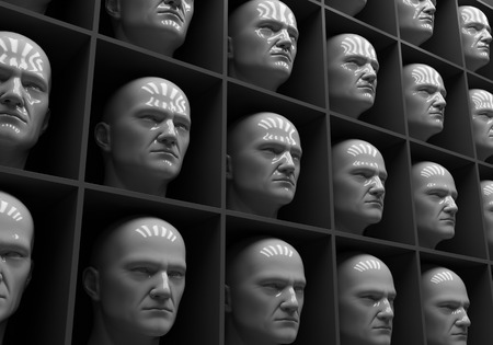 conformance: Many of the same peoples heads in boxes. Uniformity,  humanity, solitude