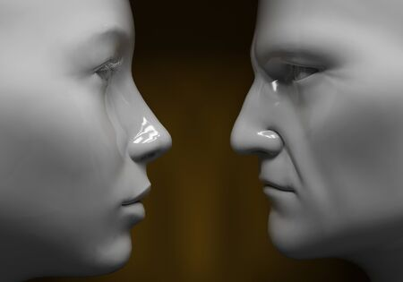 layman: Man and woman face to face, close-up