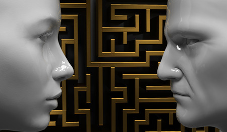 intricacy: Man and woman face to face on the background of the labyrinth