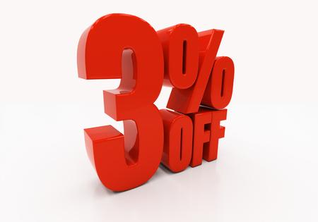 half cent: 3 percent off. Discount 3. 3D illustration
