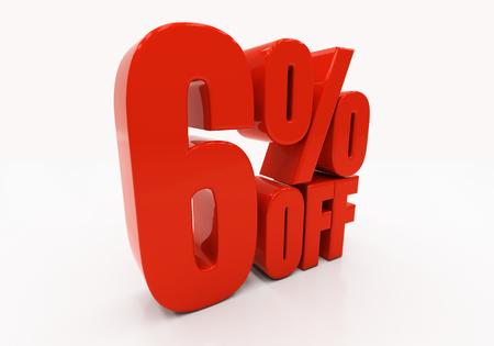 half cent: 6 percent off. Discount 6. 3D illustration Stock Photo