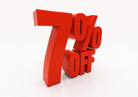 half cent: 7 percent off. Discount 7. 3D illustration