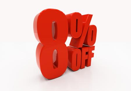 half cent: 8 percent off. Discount 8. 3D illustration