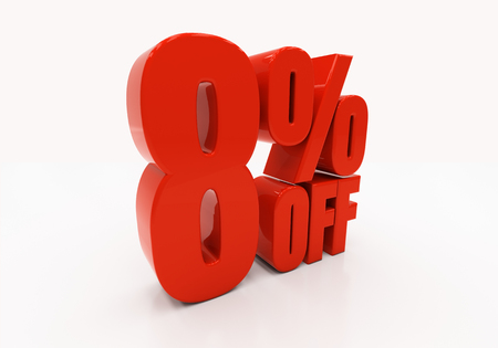 compounding: 8 percent off. Discount 8. 3D illustration
