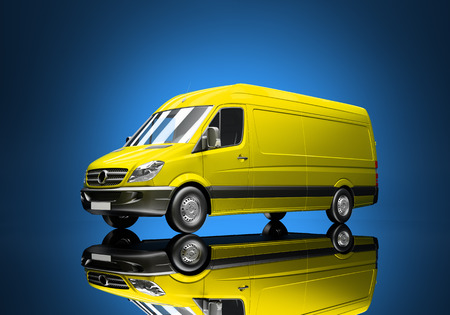 delivery truck: 3d courier service delivery truck icon with blank sides ready for custom text and logos Stock Photo