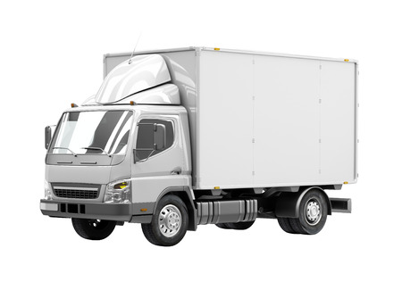 panel van: 3d courier service delivery truck icon with blank sides ready for custom text and logos Stock Photo