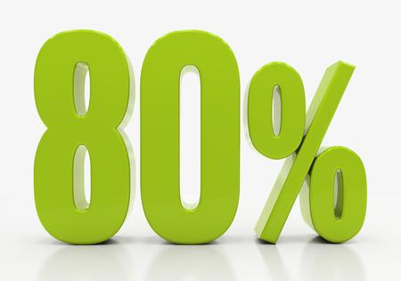 half cent: 80 Percent off Discount. 3D illustration