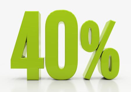 40: 40 Percent off Discount. 3D illustration
