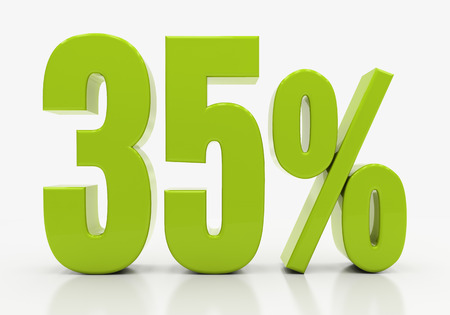 35: 35 Percent off Discount. 3D illustration Stock Photo