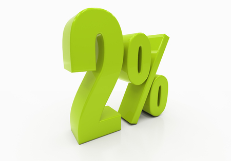 half cent: 2 Percent off Discount. 3D illustration