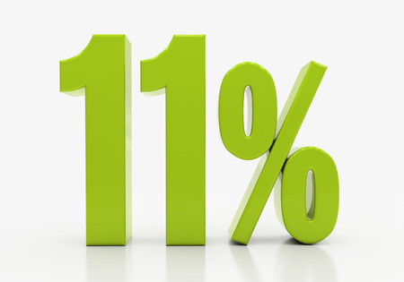 compounding: 11 Percent off Discount. 3D illustration