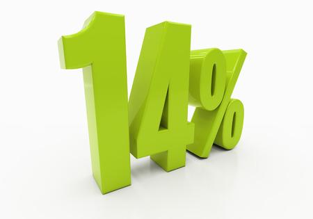 half cent: 14 Percent off Discount. 3D illustration