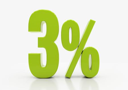 half cent: 3 Percent off Discount. 3D illustration