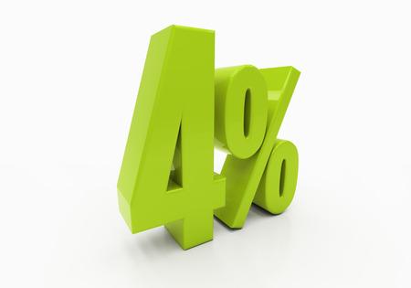 per cent: 4 Percent off Discount. 3D illustration