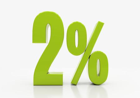 compounding: 2 Percent off Discount. 3D illustration