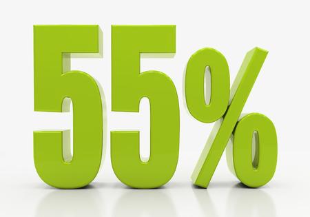 per cent: 55 Percent off Discount. 3D illustration
