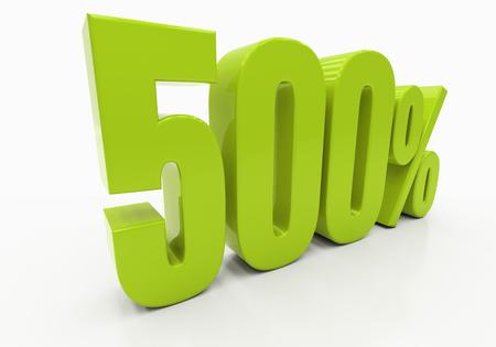 500 Percent off Discount. 3D illustration