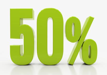 half cent: 50 Percent off Discount. 3D illustration