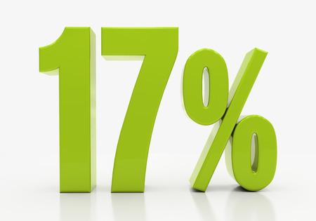 17: 17 Percent off Discount. 3D illustration Stock Photo