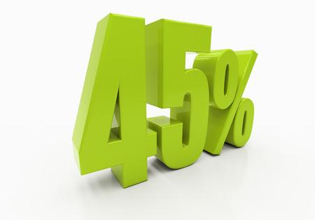 per cent: 45 Percent off Discount. 3D illustration