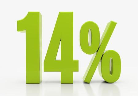 14: 14 Percent off Discount. 3D illustration