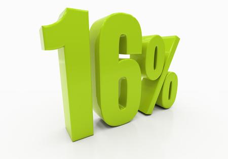 half cent: 16 Percent off Discount. 3D illustration