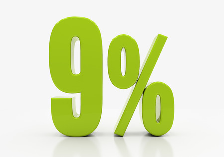 compounding: 9 Percent off Discount. 3D illustration