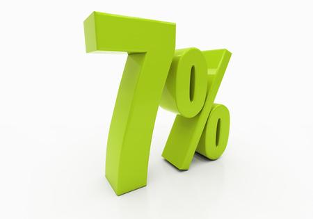 per cent: 7 Percent off Discount. 3D illustration