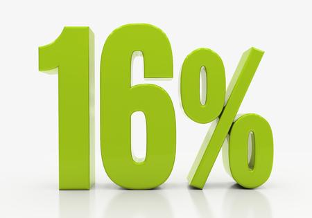 compounding: 16 Percent off Discount. 3D illustration