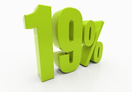 19: 19 Percent off Discount. 3D illustration